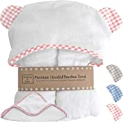 Premium Baby Girl Towel with Hood and Washcloth - Choose Pink, Blue, or Beige with White - Organic Bamboo Baby Towels with Hood - Baby Girl Bath Towels Gift