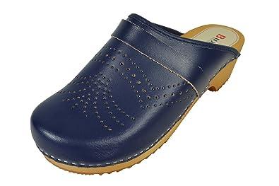 Buxa Unisex Denim Blau Holz und Leder Clogs / Pantoletten, Fersenriemen, Größe 38