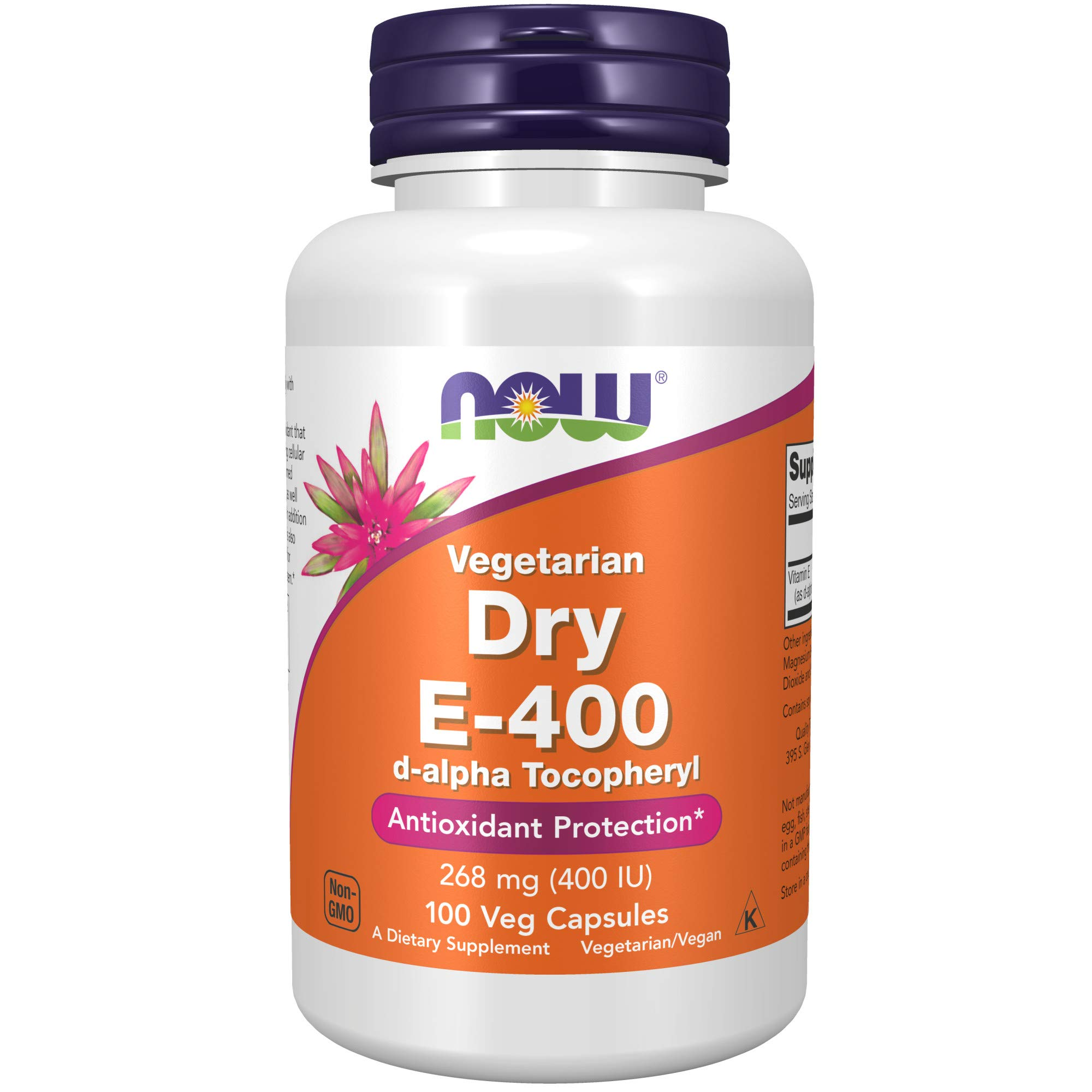 NOW Supplements, Vitamin E-400 IU D-Alpha Tocopheryl, Dry, Antioxidant Protection*, 100 Veg Capsules