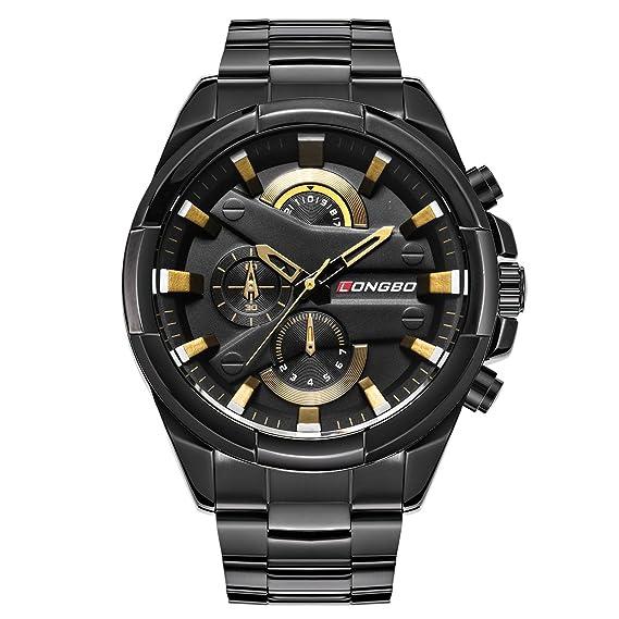 reloj deportivo de acero inoxidable de los hombres negros nuevos relojes de cuarzo de moda con los ojos crono decorativos de oro para el hombre: Amazon.es: ...
