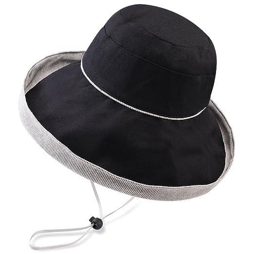FURTALK Women s Sun Bucket Hat UPF 50 Cotton Fold up Wide Brim ... 355b2ac161cd