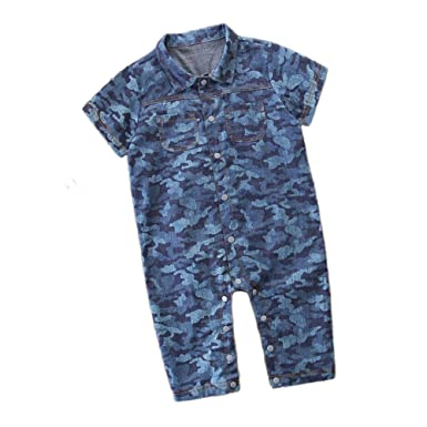 48977d83c97 Fineser Baby Romper Infant Boys Camouflage Short Sleeve Jumpsuit Summer  Casual Outfit Clothes (Blue