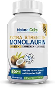 Natural Cure Labs Extra Strength Monolaurin 800mg, 100 Capsules, 33% More