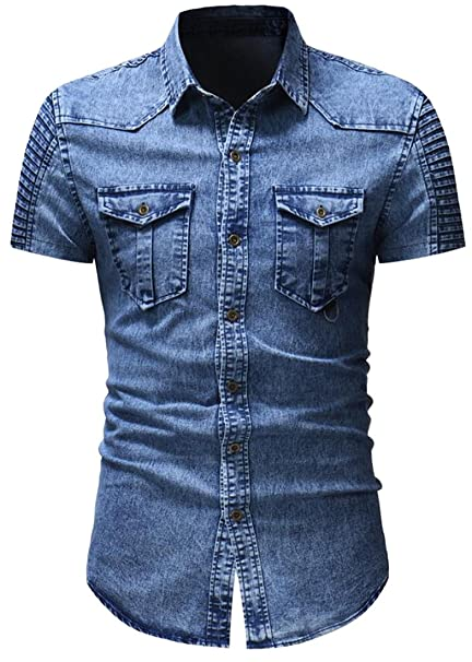 5065d2bf Jofemuho Men Jeans Short Sleeve Vintage Splicing Washed Ruched Button Down  Blouse Tops at Amazon Men's Clothing store: