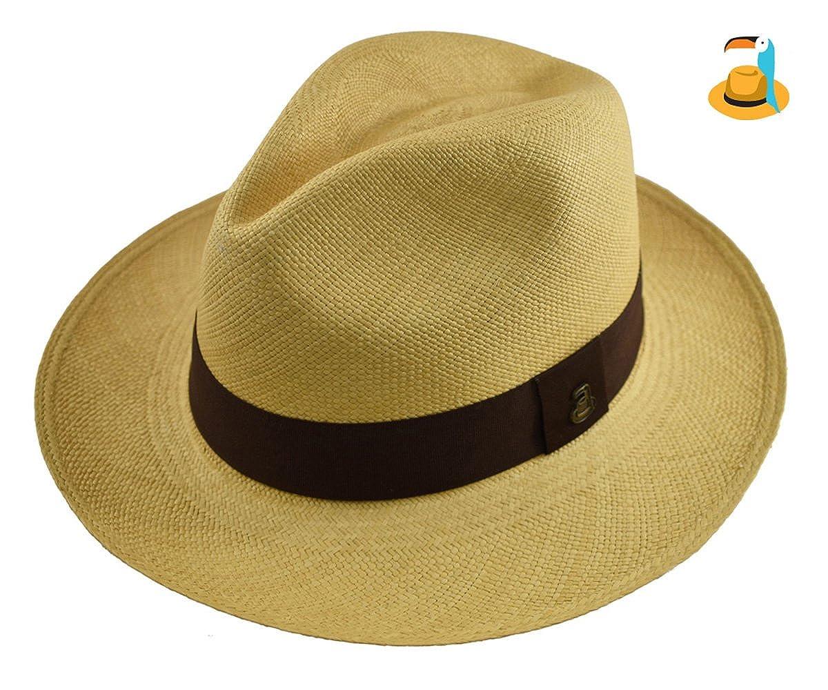 dca833186fe Original Panama Hat - Beige Classic Fedora - Brown Band - Toquilla Straw -  Handmade in Ecuador by Ecua-Andino at Amazon Men s Clothing store