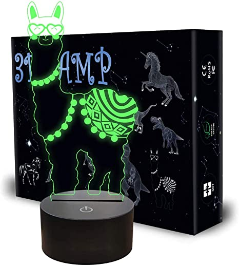 AZIMOM LED 3D Illusion Lamp Alpaca Llama 7 Colors Changing Night Light for Kids with Smart Touch Sensor Switch Bedside Optical Lamps Bedroom Home Decoration for Kids Boys Girls Women Birthday Gift
