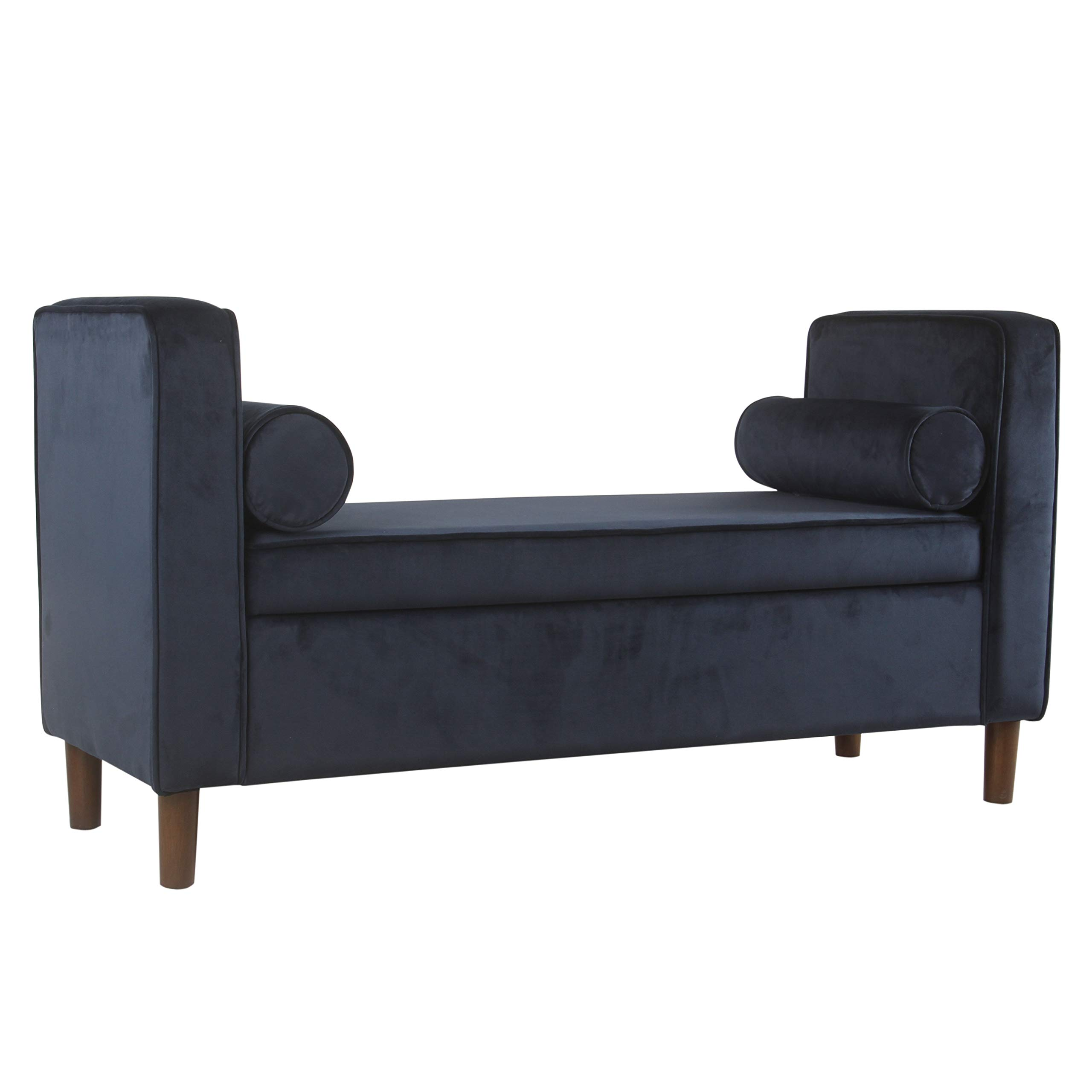 HomePop Rimo Upholstered Armed Storage Bench with Pillows, Dark Navy