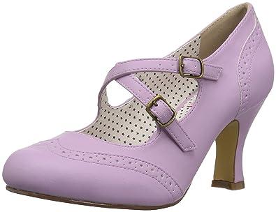 0a64c536a16 Pin Up Couture Women s FLAPPER-35 Pump Lavender Faux Leather 6 ...