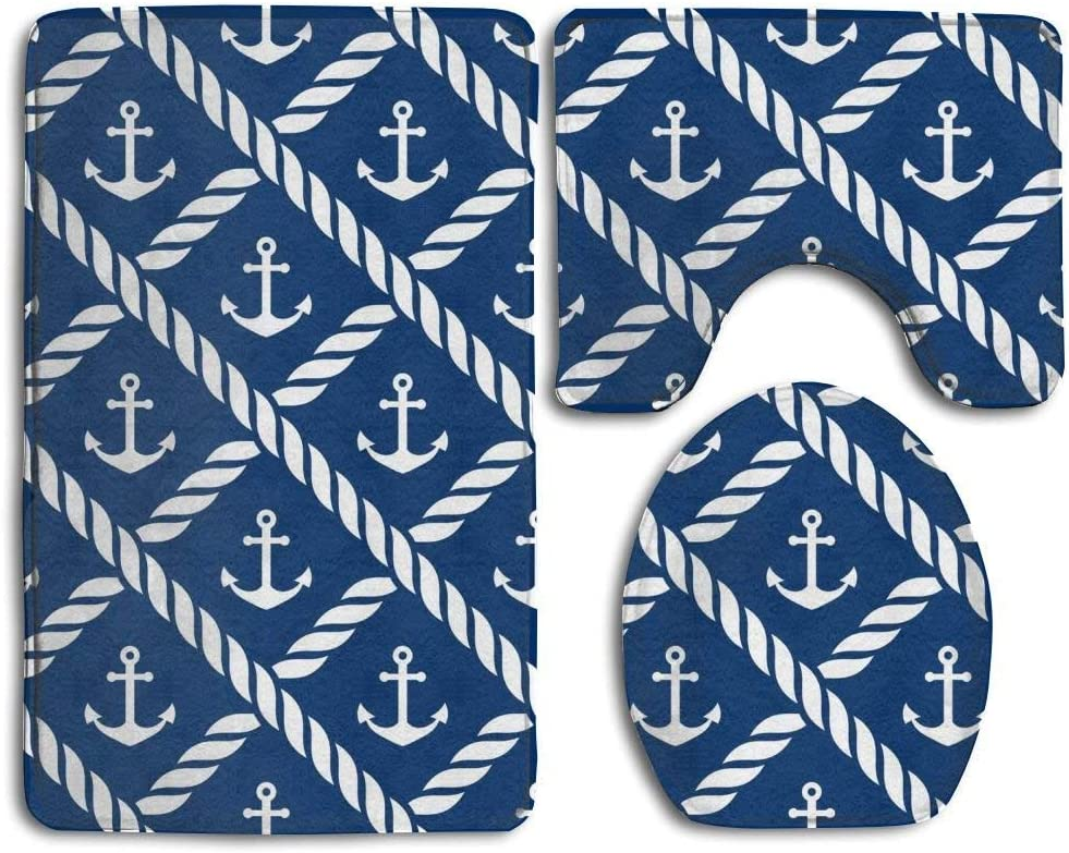 Personalized 3PCS Non Slip Toilet Seat Cover Rug Bathroom Anchor Navy Blue MEWSGK Toilet seat Cover