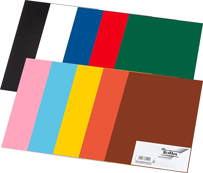 Folia - Papel de construcción, 130 g/m², DIN A3, 50 hojas, surtido de 10 colores distintos: Amazon.es: Oficina y papelería