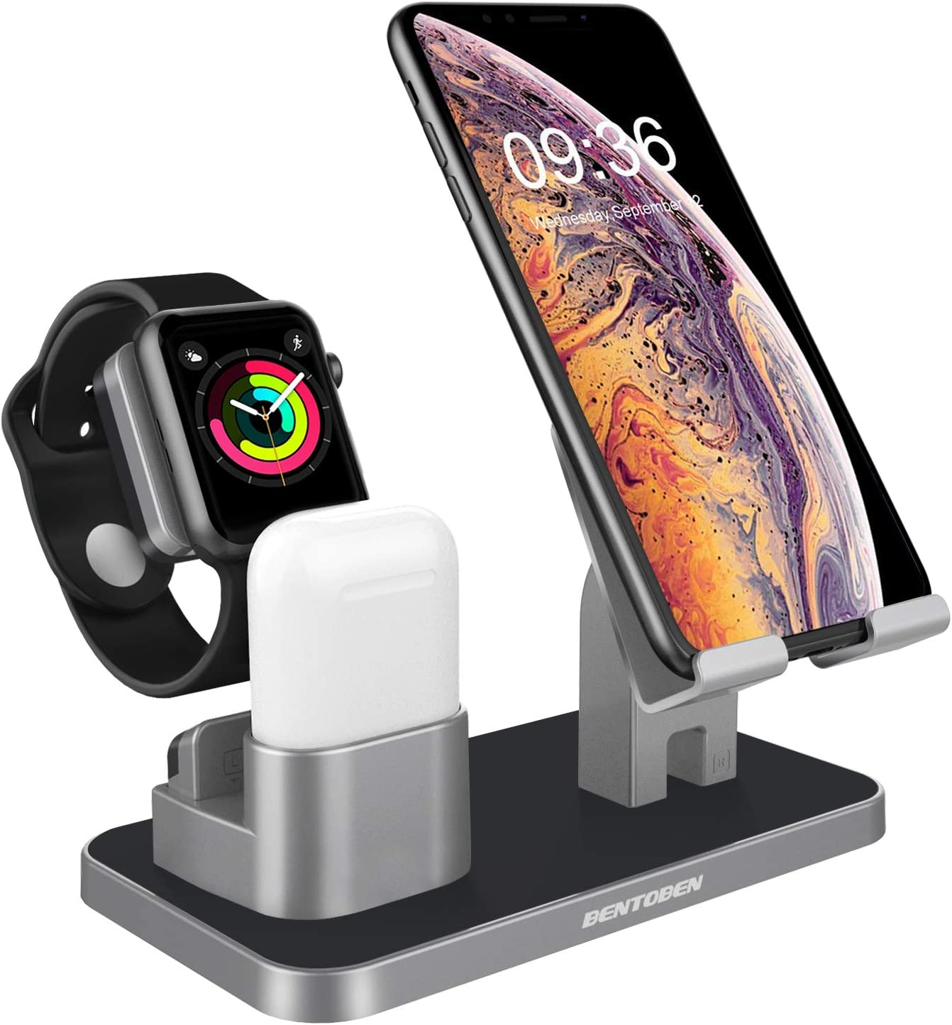 BENTOBEN Compatible with Apple Watch Stand Airpods Charger Dock Cell Phone Stand, Universal Desktop Stand Charging Station Holder for iWatch Airpods iPhone iPad Tablet Android Smartphone, Space Gray