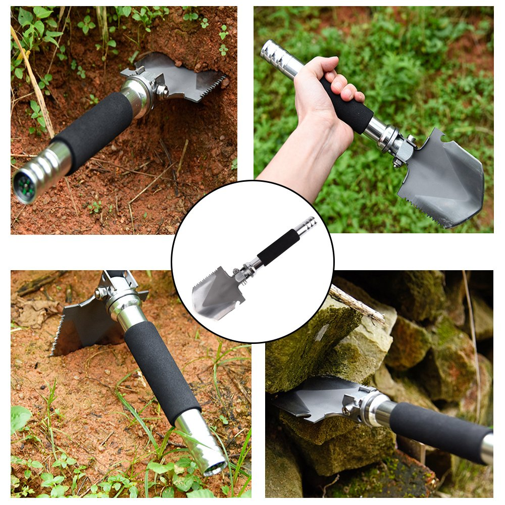iDeep Folding Shovel, Camping Shovel High Carbon Steel Handle,Multi-tool Survival Shovel with Pick Bottle Opener with Pouch Perfect for Outdoor Camping Gardening Emergency by iDeep (Image #8)