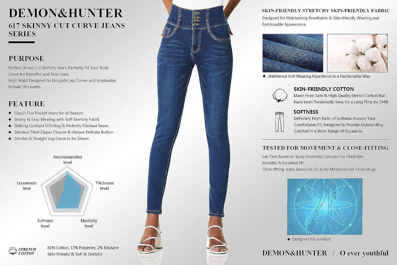 Demon&Hunter 8017 Skinny Series Mujer Pantalones Vaqueros Pitillos Cintura Alta Jeans