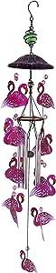 Every Growing Metal Flamingo Glass Beads Windchime Wind Chimes Outdoor Pink Anima WindChimes Red Bird Deterrent Garden Decor Yard Decorations Patio