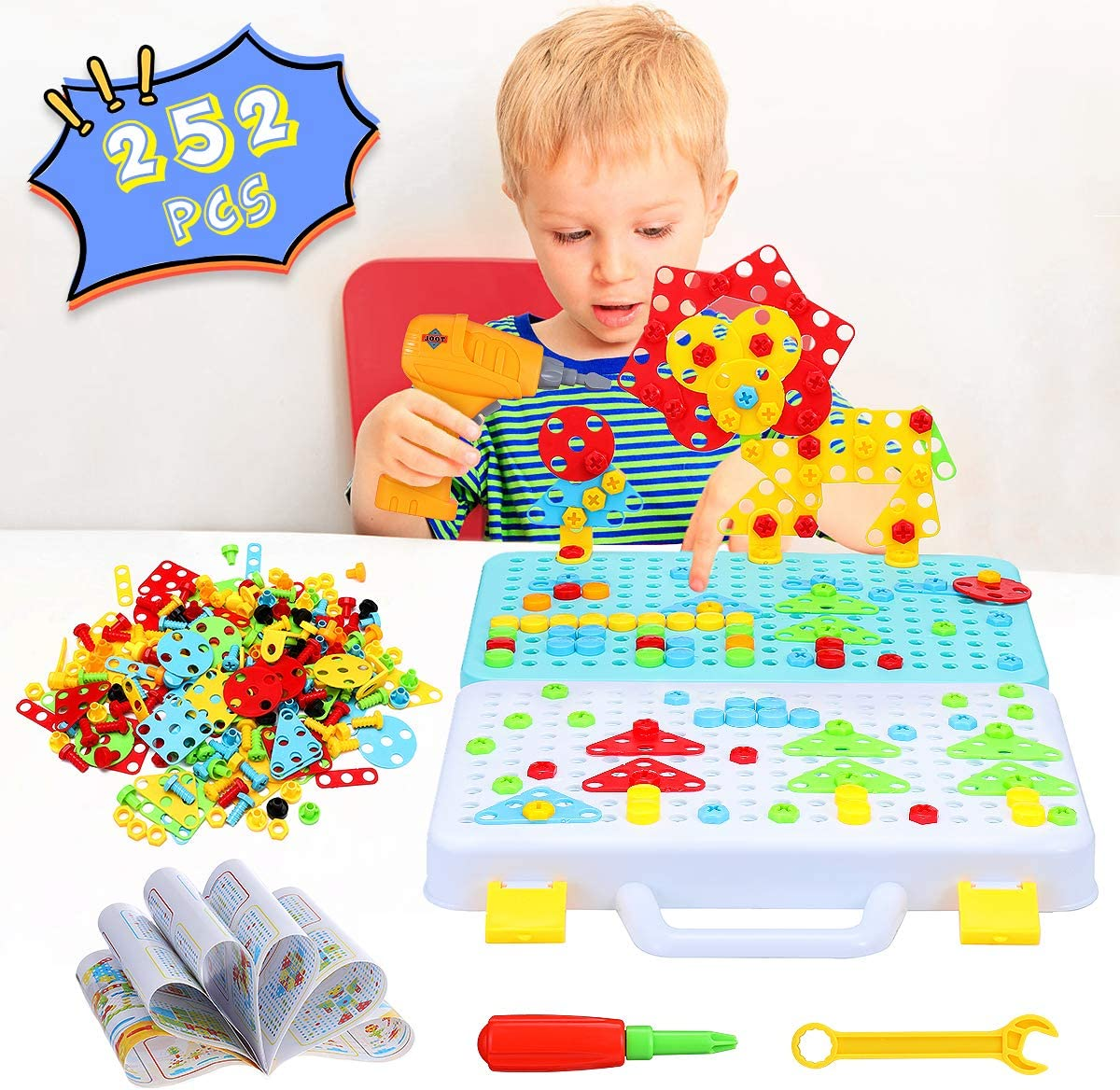 Creative Games and Fun Pickwoo 252+ Pieces Electric DIY Drill Educational Set Building Block Games Set STEM Learning Toys 3D and 2D Construction Engineering Building Blocks for Boys and Girls