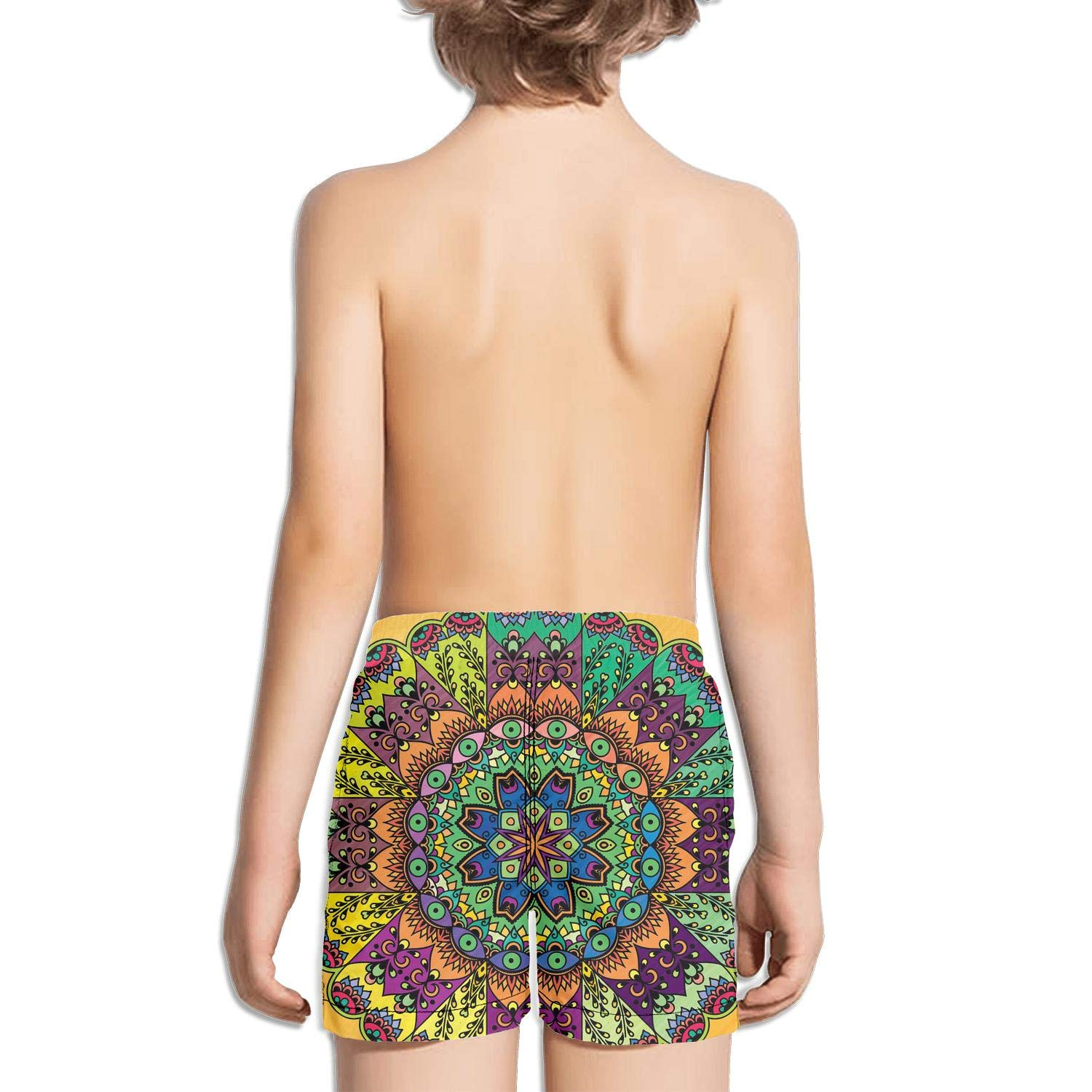 FullBo Beautiful Present Design Retro Mandala Little Boys Short Swim Trunks Quick Dry Beach Shorts
