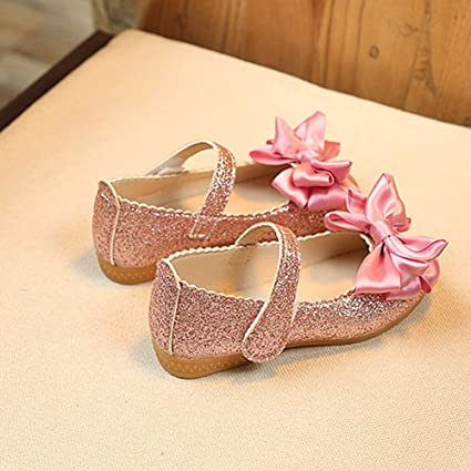 Pink, 2-2.5T Baby Girls Children Fashion Mary Jane Princess Shoes Bowknot Party Dance Flats Leather Scrub Flashing Single Sandals