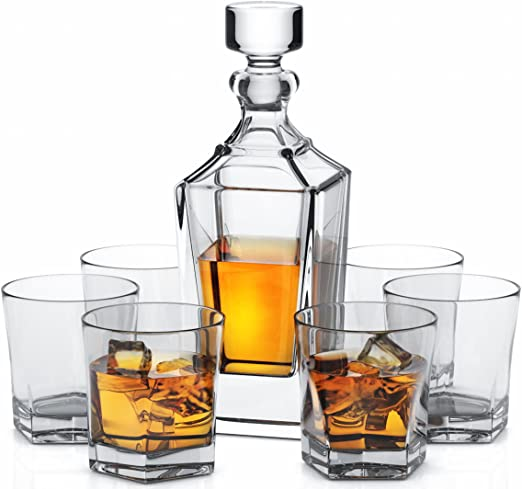 100/% Lead Free Miko Crystal Decanter Set With 6 Double Old Fashioned Glasses