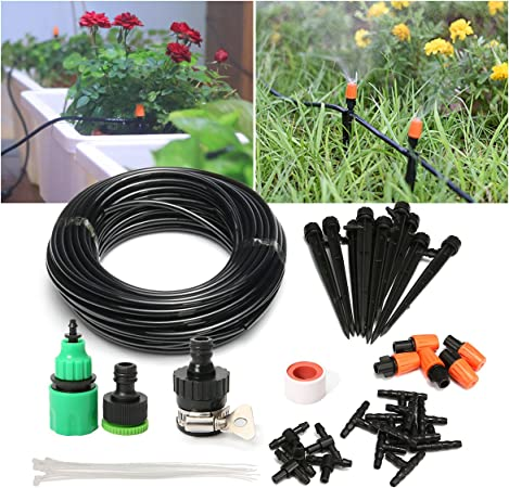 """DIY Garden Irrigation System Hanging Basket/… Garden Watering Kit Mist Cooling System with 1//4/""""Blank Distribution Tubing Hose for Patio,Greenhouse 50ft Drip Irrigation Kit Potted Plants Flower Bed"""