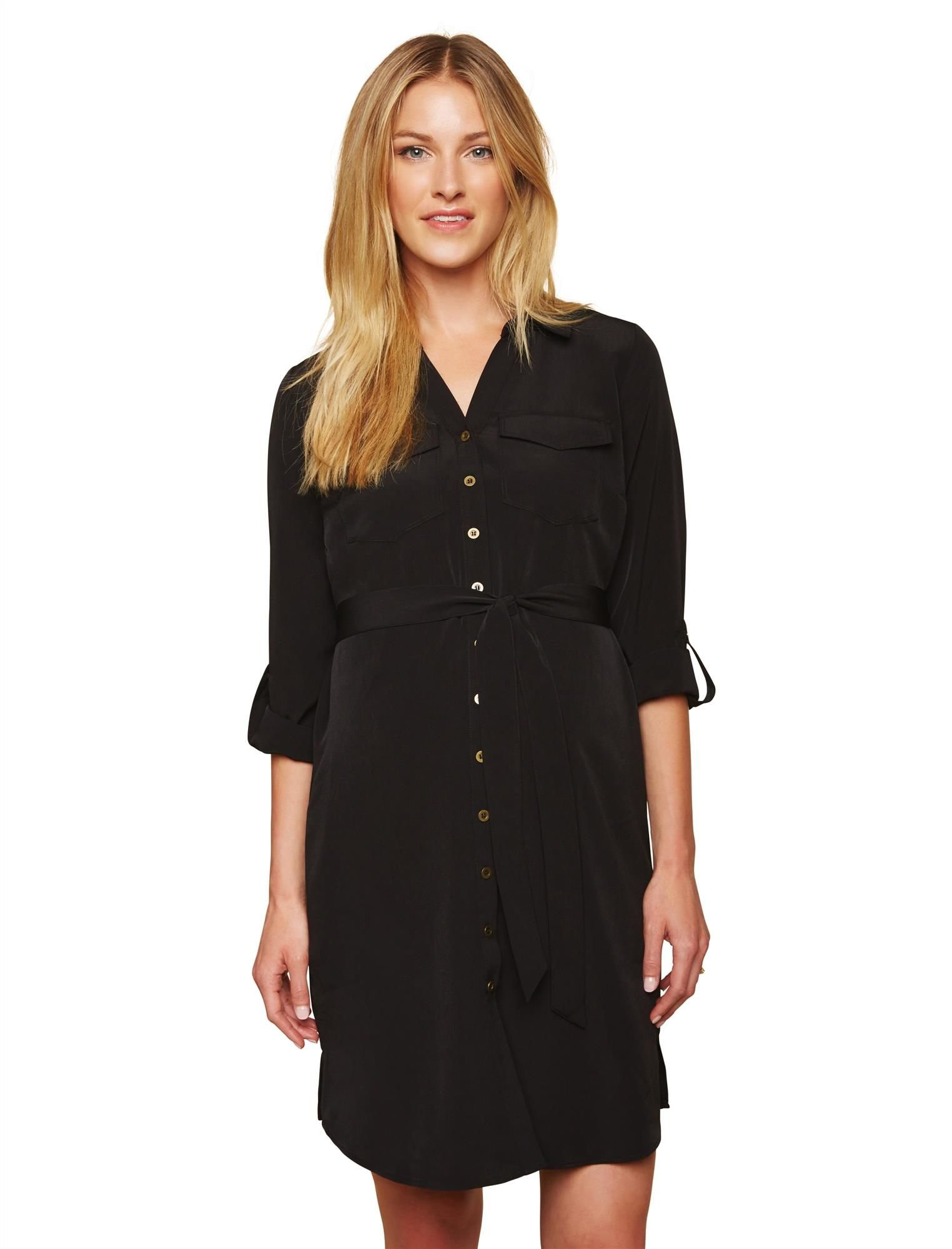 Motherhood Maternity Women's Collared Shirt Dress with Tie Detail, Black, Extra Large by Motherhood Maternity