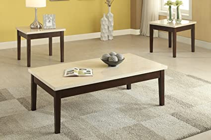 Poundex PDEX F3126 3 Piece Coffee/Cocktail/End Table Set With Faux Marble