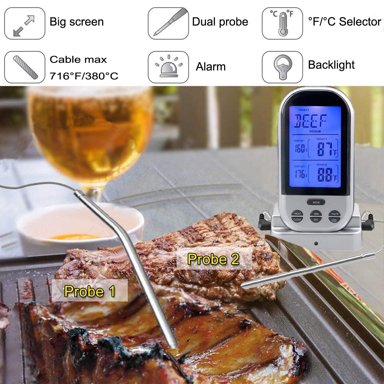 Amazon.com: pimiti Digital Carne Termómetro Con Sonda Dual ...