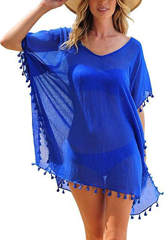 Cindeyar Damen Strandkleid Sommerkleid Bikini Cover Up Sommer Bademode Longshirt Tunika Strandponcho