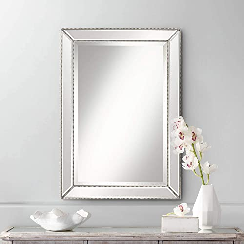 Uttermost Roseau Silver Pewter 24 x 34 Beaded Wall Mirror