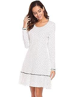031d3dd2036ac3 Nachthemd Damen Langarm Baumwolle Schlafanzug Lang Nachtkleider mit  Punktmuster Dekoration Knielang Nachtwäsche lang