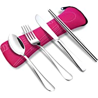 NOMACY 4 Pieces Utensils Set, Reusable Portable Cutlery Kit, Stainless Steel Flatware for Camping Lunch Travel School Office Home with Zipper Case