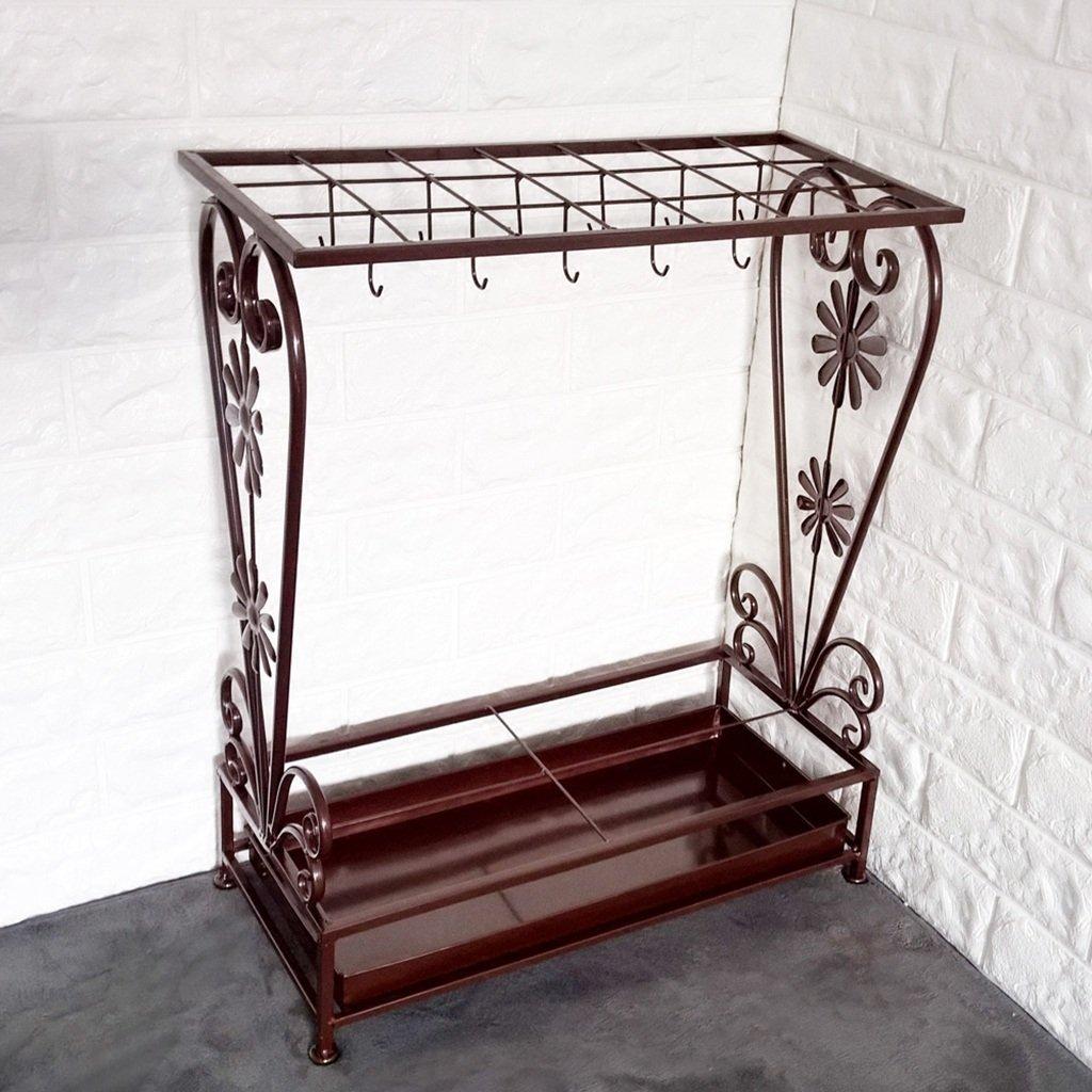 Bronze NYDZ Iron Umbrella Stand Large Hotel Lobby Umbrella Bucket Household Umbrella Storage Holder Square 50x25x60cm (color   Bronze)