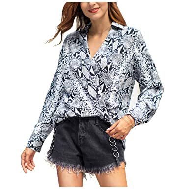 8244807d32cc Women Snakeskin Print Blouse Sexy V Neck Wrap Front Long Sleeve Loose  Chiffon Pullover Shirt Top