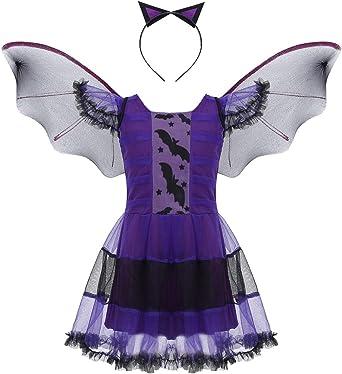 YiZYiF Disfraz Halloween Niñas Maléfica Vestido Bruja Vampiresa Tutú, Alas Murciélago y Diadema Cosplay Bat Girl Traje Disfraces Cumpleaños Navidad Fiesta: Amazon.es: Ropa y accesorios