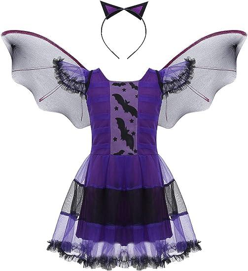 YiZYiF Disfraz Halloween Niñas Maléfica Vestido Bruja Vampiresa ...