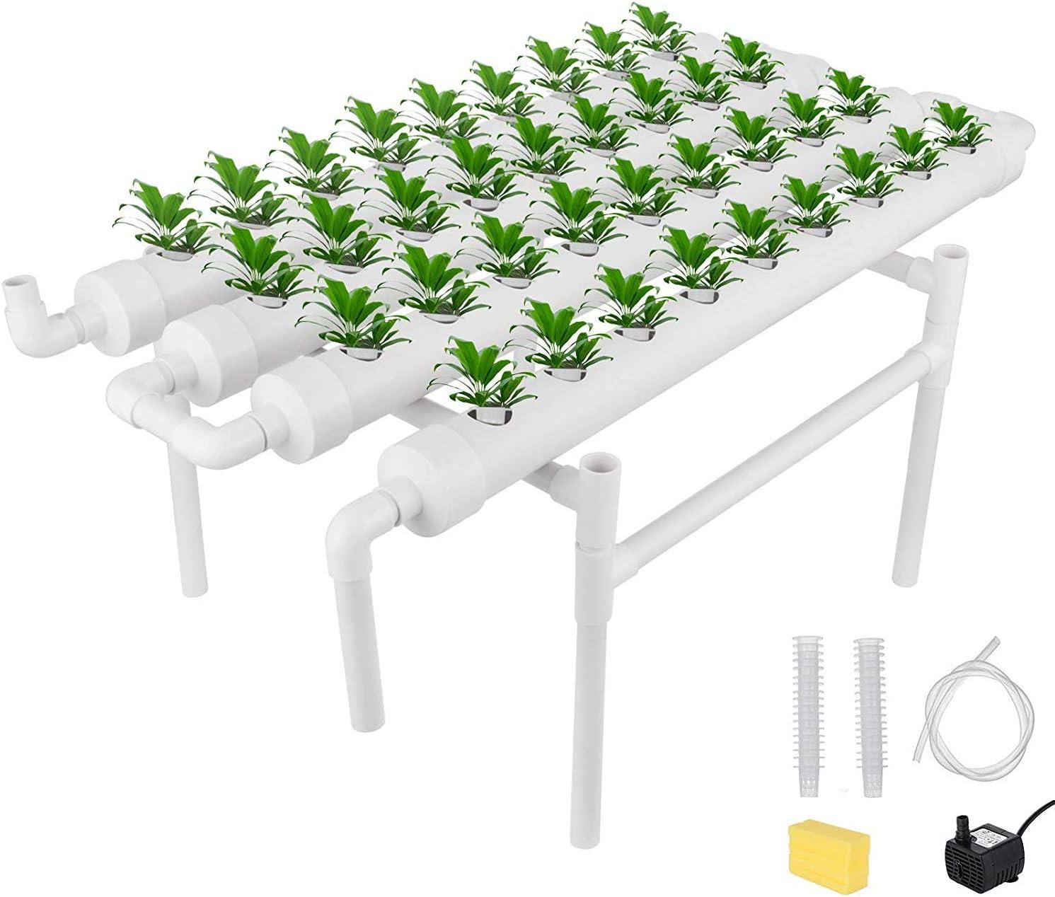 TOPQSC Hidropónico crecen Kit de 36 sitios de plantación hidropónica 4 Tubos Equipt sin suelo Cultivo Ebb profundo del flujo de agua de cultivo hidropónico Growin