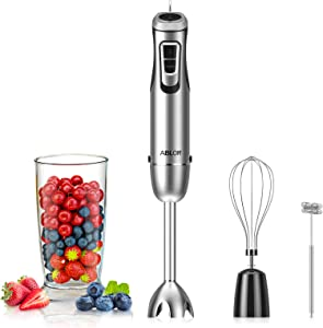 Ablon Immersion Hand Blender 600 Watt 10-Speed, 4-in-1 Set Includes Detachable 304 Stainless Steel Stick Blender, Egg Whisk, Mixing Beaker, Milk Frother