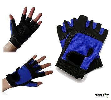 REFLEXT - Guantes sin dedos para entrenamiento pesas/ciclismo/remo/gimnasio, color rojo y negro, color BlueBlack, tamaño Large: Amazon.es: Deportes y aire ...