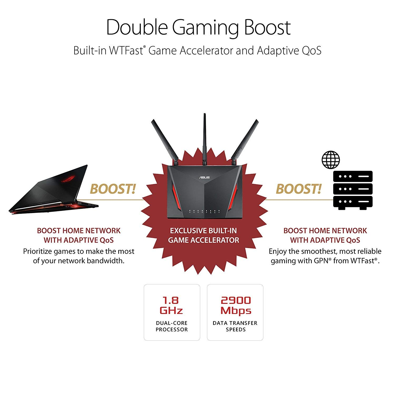 Router Gaming Tri-Banda con 8 puertos Gigabit Asus ROG Rapture GT-AC5300 2 puertos gaming, Radar Wifi, Gaming APP, Link aggregation, compatible con Ai Mesh wifi
