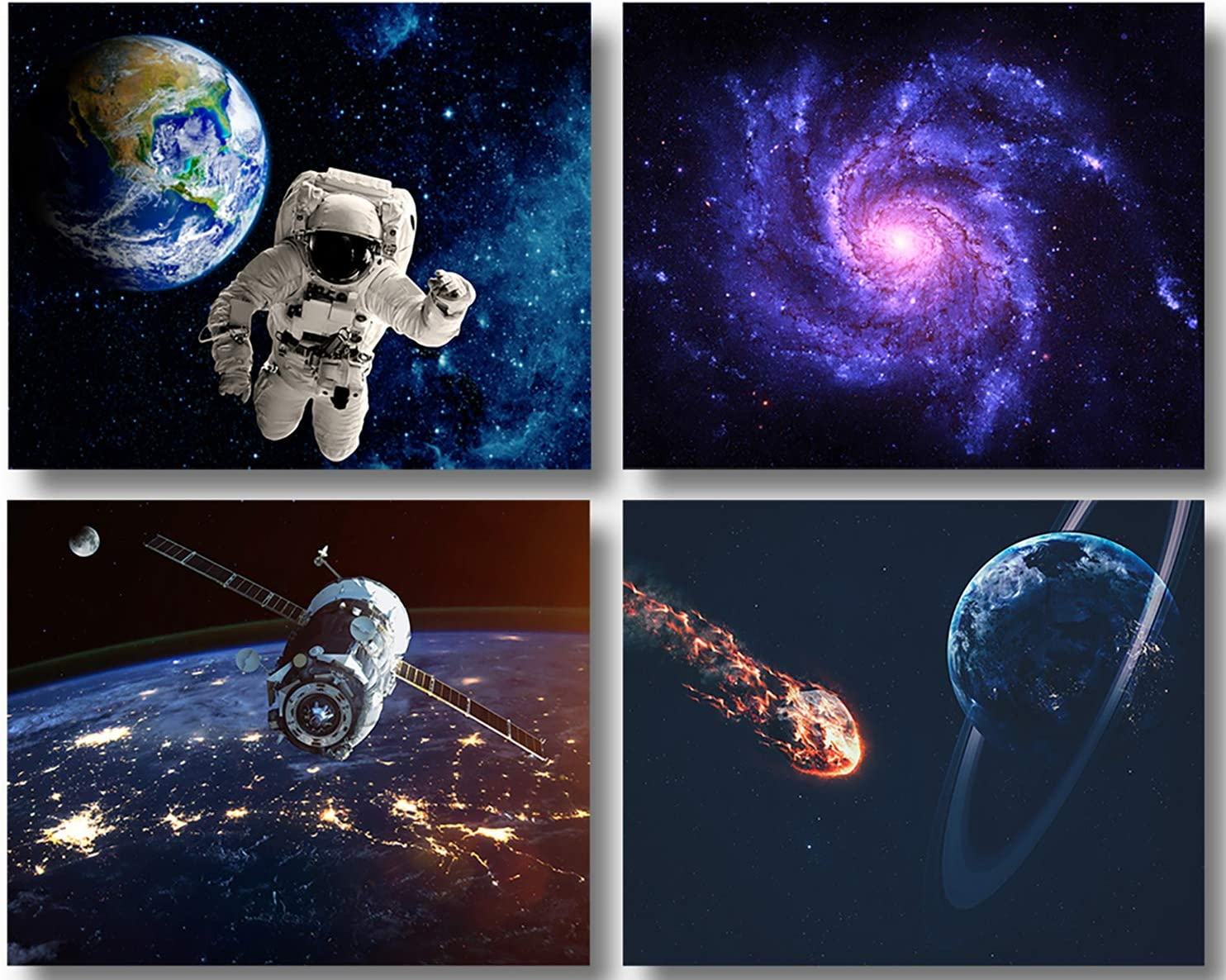 Space Poster for Gaming Kids Room Decor Unframed Fine Prints Space Wall Art Spacex Galaxy Posters for Guys NASA Modern Home Decor Stretched and Ready to Hang Bedroom Decor Set of 4 (8x10in)