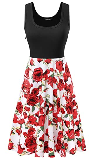 948a7fc5ef Women s Vintage Floral Print Sleeveless A-line Skater Dresses for Party Red  Print