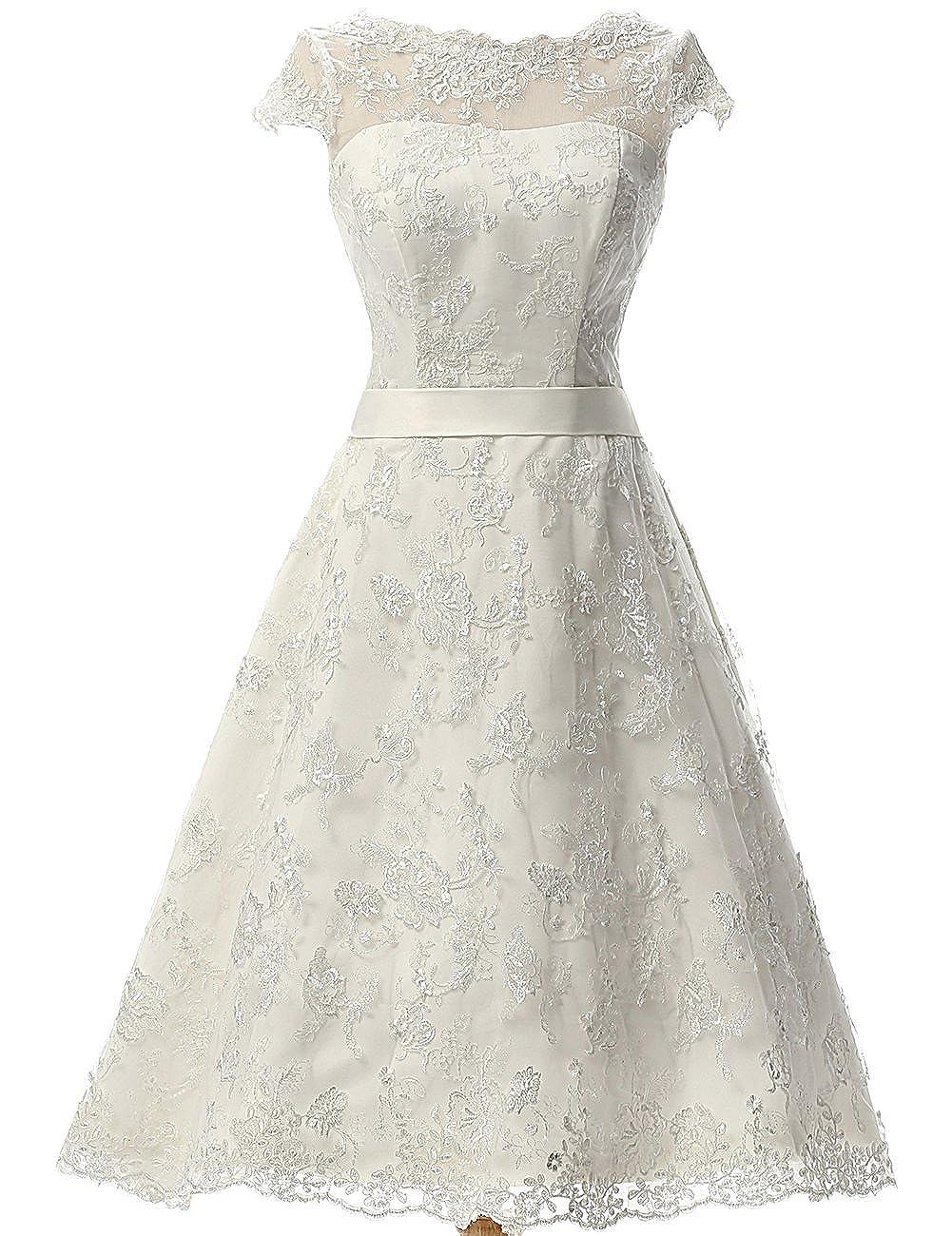 JAEDEN Women's Vintage Lace Wedding Dress Short Bridal Gown Dresses with Sash A-W118