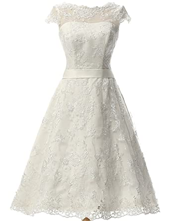 JAEDEN Vintage Lace Wedding Dress Short Bridal Gown Knee Length ...