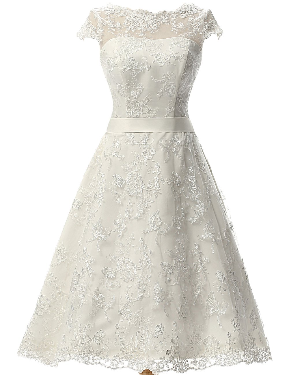 JAEDEN Women's Vintage Lace Wedding Dress Short Bridal Gown Dresses With Sash White US8