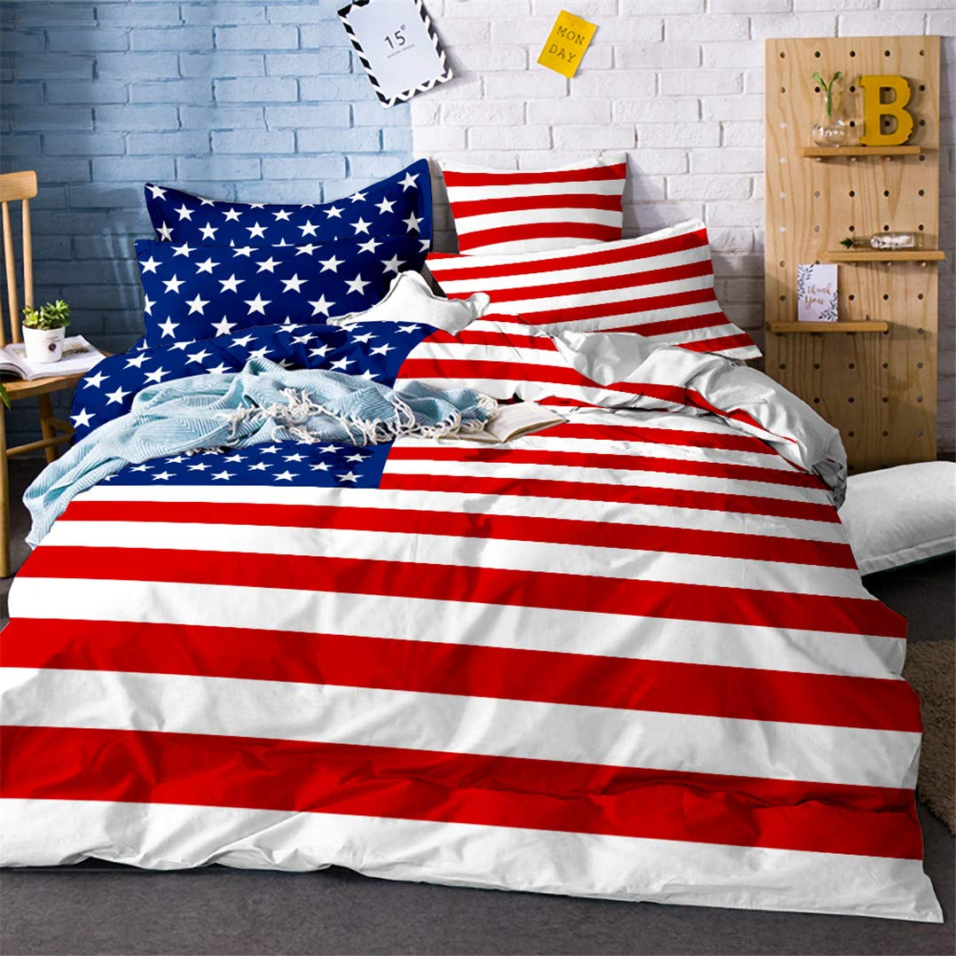 PHYHJH USA American Flag Bedding Sets 3 Piece Duvet Cover Sets Flag Patriot Theme Quilt Cover Matching 2 Pillowcases Full Size
