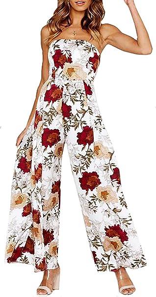 a49d89925ef Amazon.com  Floral Jumpsuit Romper for Women Off The Shoulder Sleeveless  Wide Leg Pants Cutout Tie Back Side Split Jumpsuit Romper  Clothing