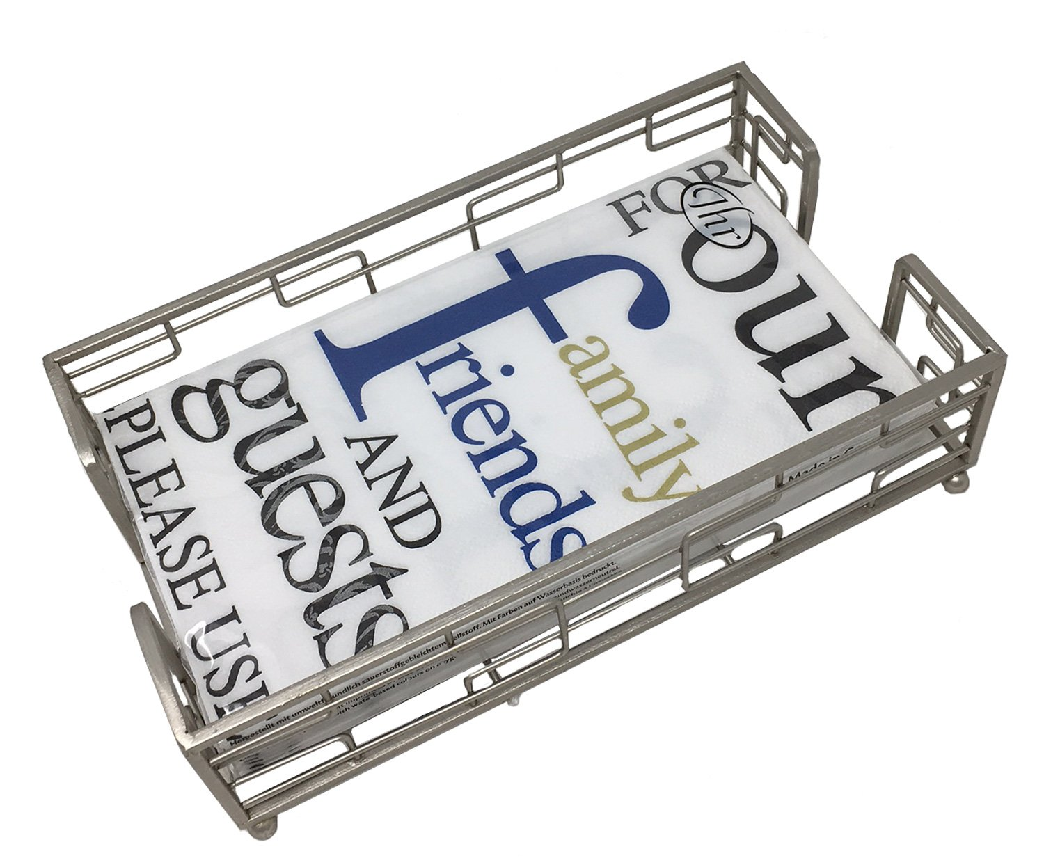 Ideal Home Range 3-Ply Paper Please Use, 16 Count Guest Towel Napkins Blue with Boston International Hampshire Brushed Nickel Metal Caddy