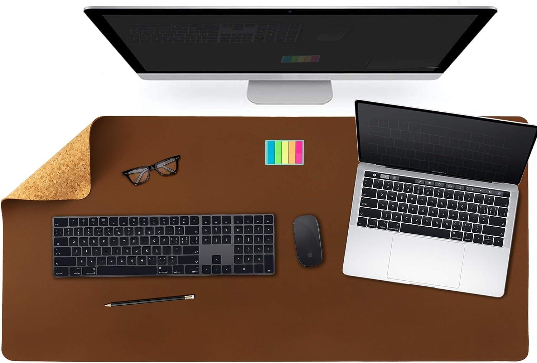 Alfombrilla de escritorio de oficina de doble cara de corcho natural y cuero sintético,alfombrilla de ratón,protector de escritorio impermeable para juegos de oficina/hogar (91x43cm,marrón)