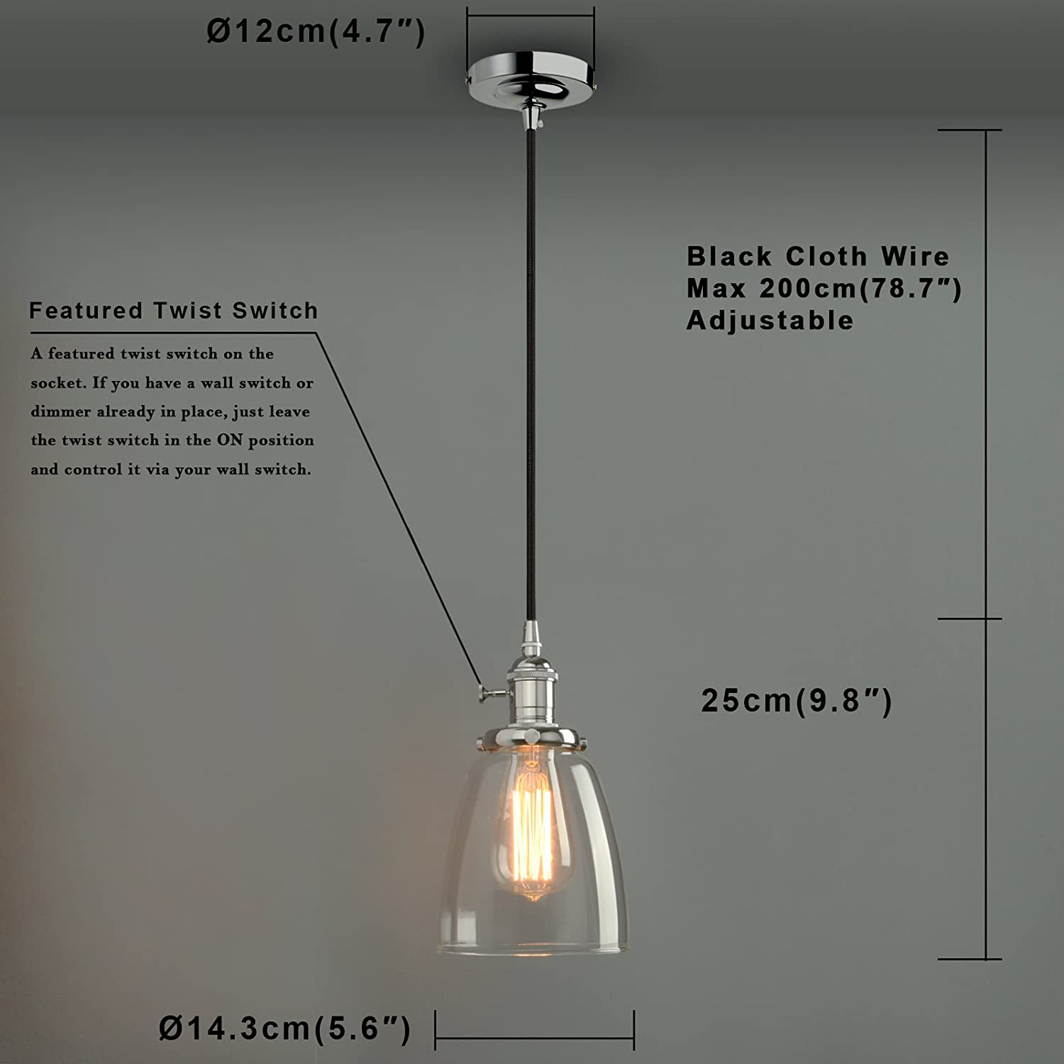 Phansthy Industrial Ceiling Light Retro Pendant Light Fixture with ...