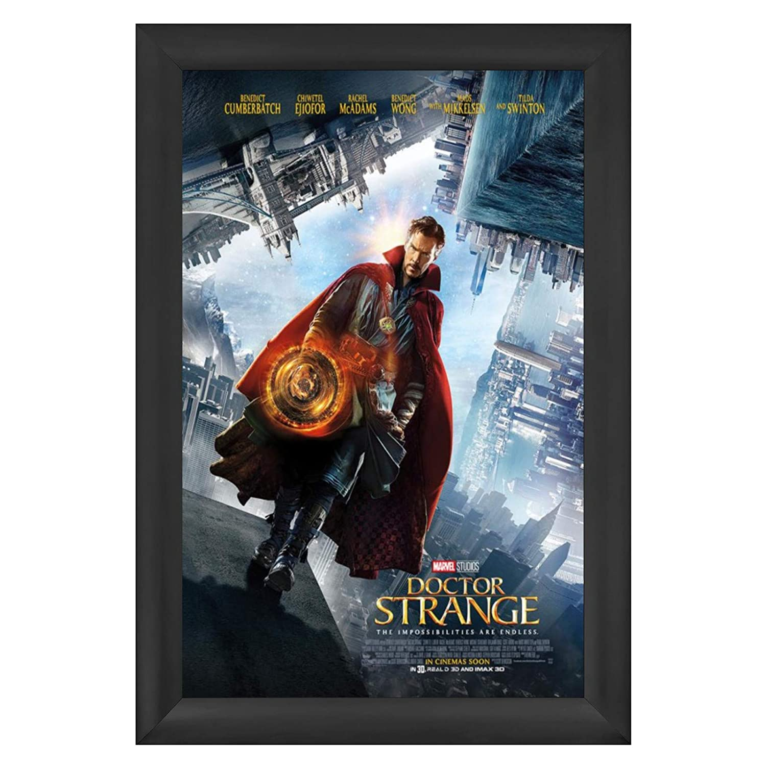 """SnapeZo Movie Poster Frame 27x40 Inches, Black 2.2"""" Aluminum Profile, Front-Loading Snap Frame, Wall Mounting, Super-Wide Series for One Sheet Movie Posters"""