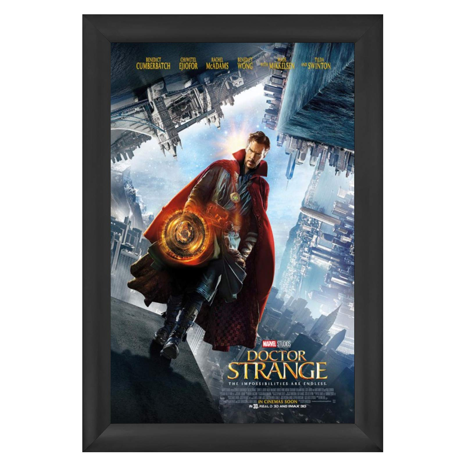 SnapeZo Movie Poster Frame 27x40 Inches, Black 2.2 Inch Aluminum Profile, Front-Loading Snap Frame, Wall Mounting, Super-Wide Series for One Sheet Movie Posters